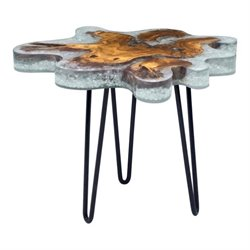 Zuo Jigsaw Glass End Table in Gray