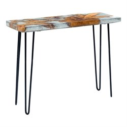Zuo Fissure Glass Console Table in Gray