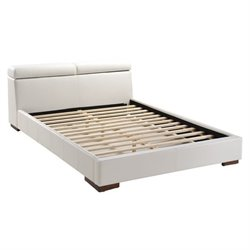 Zuo Godard Faux Leather Upholstered Queen Platform Bed in White