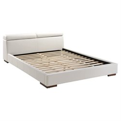 Zuo Godard Faux Leather Upholstered  Platform Bed in White