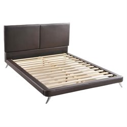 Zuo Rivette Faux Leather Upholstered Queen Panel Bed in Espresso