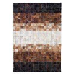 Zuo Nevada Cowhide Leather Rug in Brown and White