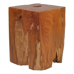 Zuo Prehistoric Teak Table Stool in Antique Gold