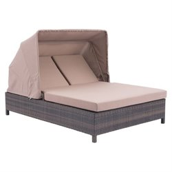 Zuo Siesta Key Double Fabric Patio Chaise Lounge in Brown