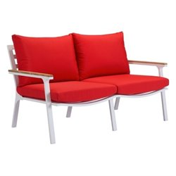 Zuo Maya Beach Outdoor Teak Sofa in Red and White