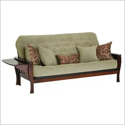 Big Tree Furniture Ella Futon Frame and Mattress with 5 Pillows in Premium Multi-Step Cohiba