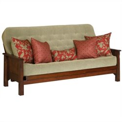 Big Tree Furniture Margaux Futon Frame and Mattress with 5 Pillows in Multi-Step Distressed Burnished Oak