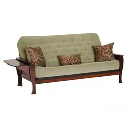 Big Tree Furniture Margaux Futon Frame and Mattress with 3 Pillows in Multi-Step Distressed Burnished Oak