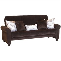 Big Tree Furniture Medina Futon Frame and Mattress with 5 Pillows in Legend Espresso Colored Fabric