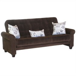 Big Tree Furniture Medina Futon Frame and Mattress with 3 Pillows in Legend Espresso Colored Fabric