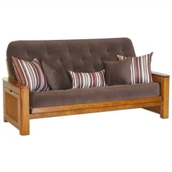 Big Tree Furniture Nina Futon Frame and Mattress with 5 Pillows in Premium Multi-Step Tobacco Oak