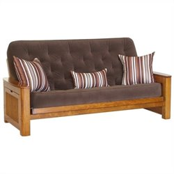 Big Tree Furniture Nina Futon Frame and Mattress with 3 Pillows in Premium Multi-Step Tobacco Oak
