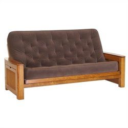 Big Tree Furniture Nina Futon Frame and Mattress in Premium Multi-Step Tobacco Oak