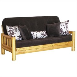 Big Tree Furniture Yosemite Futon Frame and Mattress with 5 Pillows in Premium Multi-Step Rustic