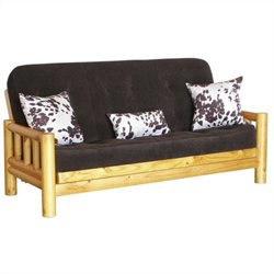 Big Tree Furniture Yosemite Futon Frame and Mattress with 3 Pillows in Premium Multi-Step Rustic