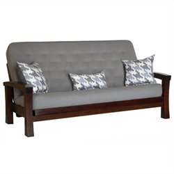 Big Tree Furniture Zen Futon Frame and Mattress with 3 Pillows in Rich Cohiba