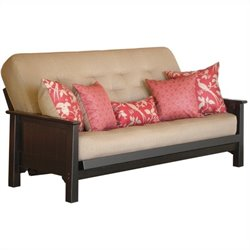 Big Tree Furniture Ateya Futon Frame and Mattress with 5 Pillows in Distressed Black Finish with Red RubThrough
