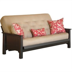 Big Tree Furniture Ateya Futon Frame and Mattress with 3 Pillows in Distressed Black Finish with Red Rub Through
