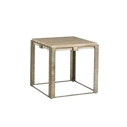 Lexington Laurel Canyon Stone Canyon Square End Table in Silver