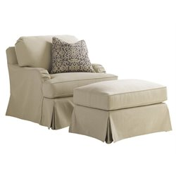 Lexington Coventry Hills Stowe Slipcover Chair with Ottoman in Khaki