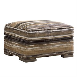 Lexington Shadow Play Delshire Ottoman in Stripe Orange Rust
