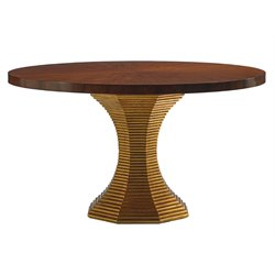 Lexington Take Five Regency Round Dining Table in Burnished Gold Leaf
