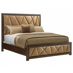 Lexington Zavala Spectrum Upholstered Panel Bed in Mocha Brown