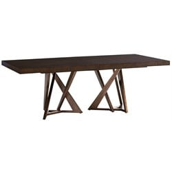 Lexington Zavala Loggia Double Pedestal Dining Table in Mocha Brown