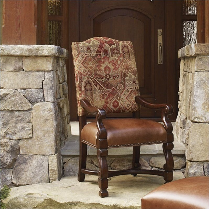Lexington Fieldale Lodge Aspen Arm Dining Chair in Brown Mahogany - Ships Assembled