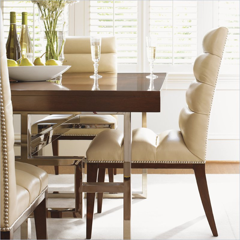 Mirage Stuart Leather  Dining Chair in Cashmere Finish - Ships Assembled