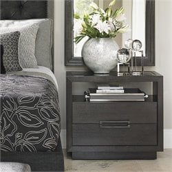 Lexington Carrera Veneno 2 Drawer Glass Top Nightstand in Carbon Gray