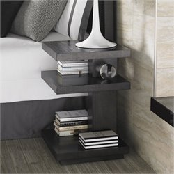 Lexington Carrera Ascari 3 Shelf Wood Night Table in Carbon Gray