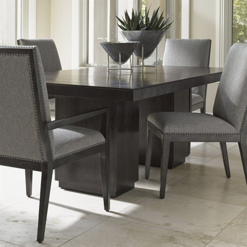 Lexington carrera modena wood dining table in carbon gray for Kitchen set modena