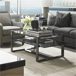 Lexington Carrera Rhodium Glass Coffee Table in Smoked Gray