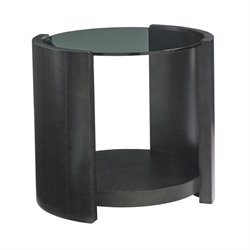 Lexington Carrera Firano Round Glass End Table in Carbon Gray