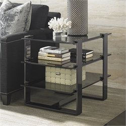 Lexington Carrera Rhodium Glass End Table in Smoked Gray