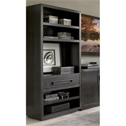 Lexington Carrera Rossa 5 Shelf Wood Bookcase in Carbon Gray