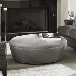 Lexington Carrera Claudia Round Fabric Ottoman in Gray