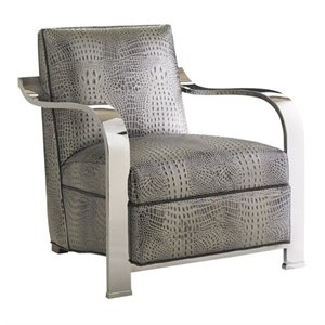 Lexington Carrera Kenilworth Leather Accent Chair in Greystone