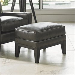 Lexington Carrera Giovanni Leather Ottoman in Greystone