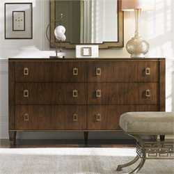 Lexington Tower Place Madison 6 Drawer Wood Double Dresser in Walnut
