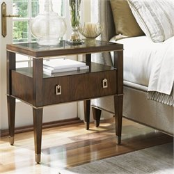 Lexington Tower Place Copley 1 Drawer Glass Nightstand in Walnut