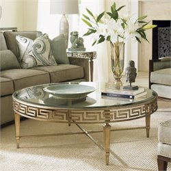 Lexington Tower Place Deerfield Round Glass Coffee Table in Gold Leaf