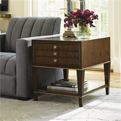 Lexington Tower Place Wentworth 3 Drawer Wood Lamp Table in Walnut