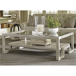 Lexington Oyster Bay Saddlebrook Glass Top Coffee Table in Oyster
