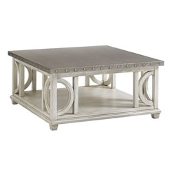 Lexington Oyster Bay Litchfield Metal Top Coffee Table in Oyster