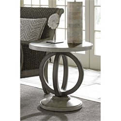 Lexington Oyster Bay Hewlett Round Pedestal Accent Table in Oyster