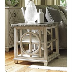Lexington Oyster Bay Lewiston Metal Top Square End Table in Oyster