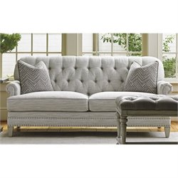 Lexington Oyster Bay Hillstead Tufted Fabric Loveseat in Milllstone