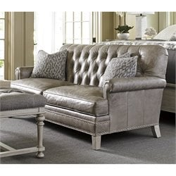 Lexington Oyster Bay Hillstead Tufted Leather Loveseat in Milllstone